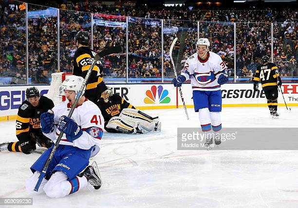 Paul Byron of the Montreal Canadiens celebrates scoring his team's second goal in the second period against the Boston Bruins during the 2016...