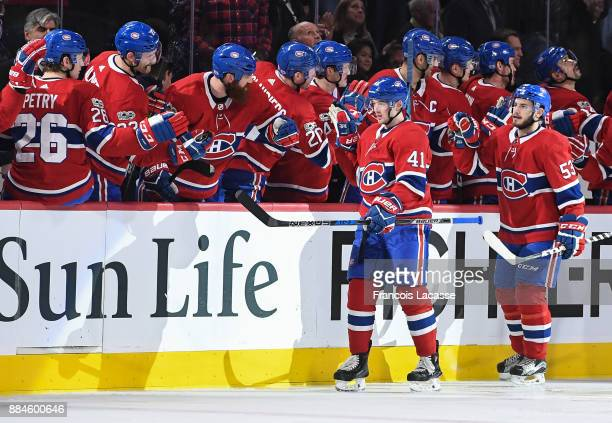 Paul Byron of the Montreal Canadiens celebrates with the bench after scoring a goal against the Detroit Red Wings in the NHL game at the Bell Centre...
