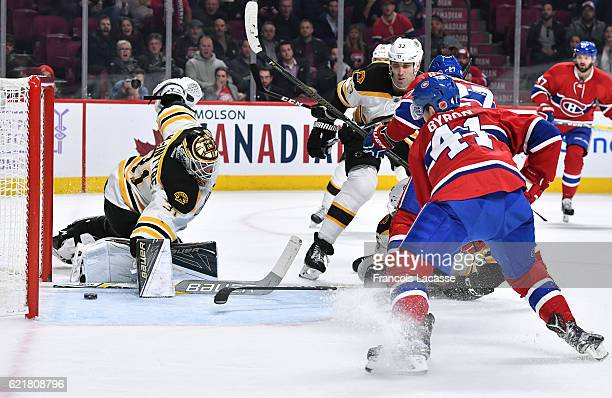 Paul Byron of the Montreal Canadiens scores a goal against Zane McIntyre of the Boston Bruins in the NHL game at the Bell Centre on November 8 2016...