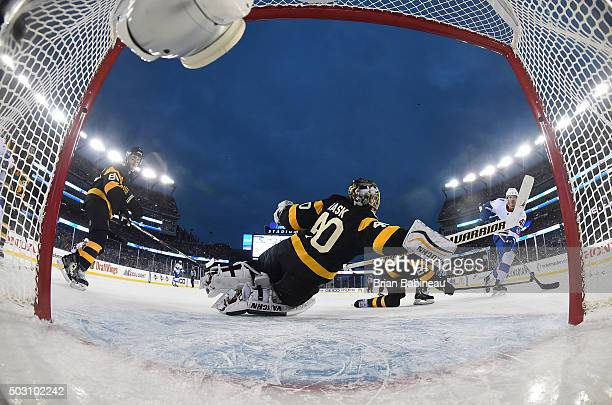 Paul Byron of the Montreal Canadiens scores against goaltender Tuukka Rask of the Boston Bruins in the third period during the 2016 Bridgestone NHL...