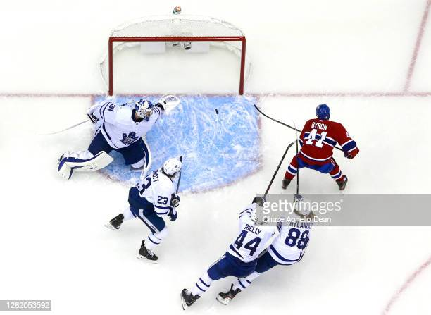 Paul Byron of the Montreal Canadiens scores on goaltender Frederik Andersen of the Toronto Maple Leafs during the third period of the exhibition game...