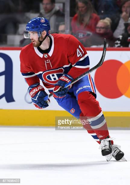 Paul Byron of the Montreal Canadiens skates againstf the Minnesota Wild in the NHL game at the Bell Centre on November 9 2017 in Montreal Quebec...