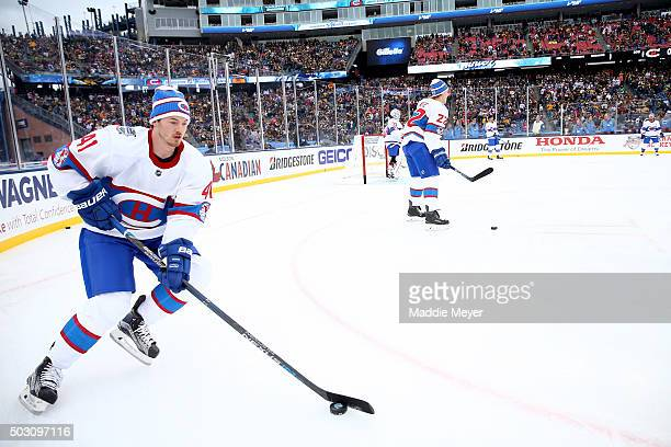 Paul Byron of the Montreal Canadiens warms up prior to the 2016 Bridgestone NHL Winter Classic against the Boston Bruins at Gillette Stadium on...