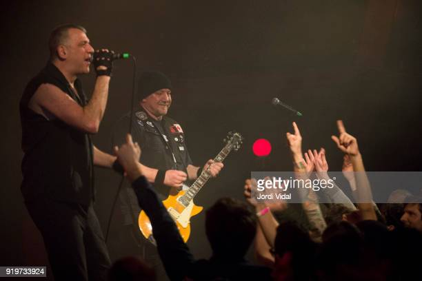 Paul Cafaro and Mark Diamond of Dwarves perform on stage during Burguer Invasion Festival at Sala Apolo on February 17 2018 in Barcelona Spain