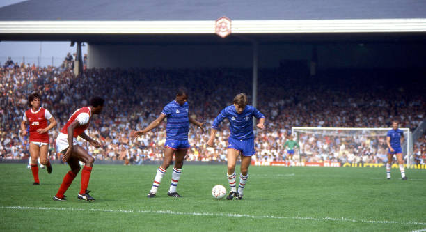 Paul Canoville and Colin Pates break forward during the Canon League Division One match between Arsenal and Chelsea held on August 25, 1984 at...