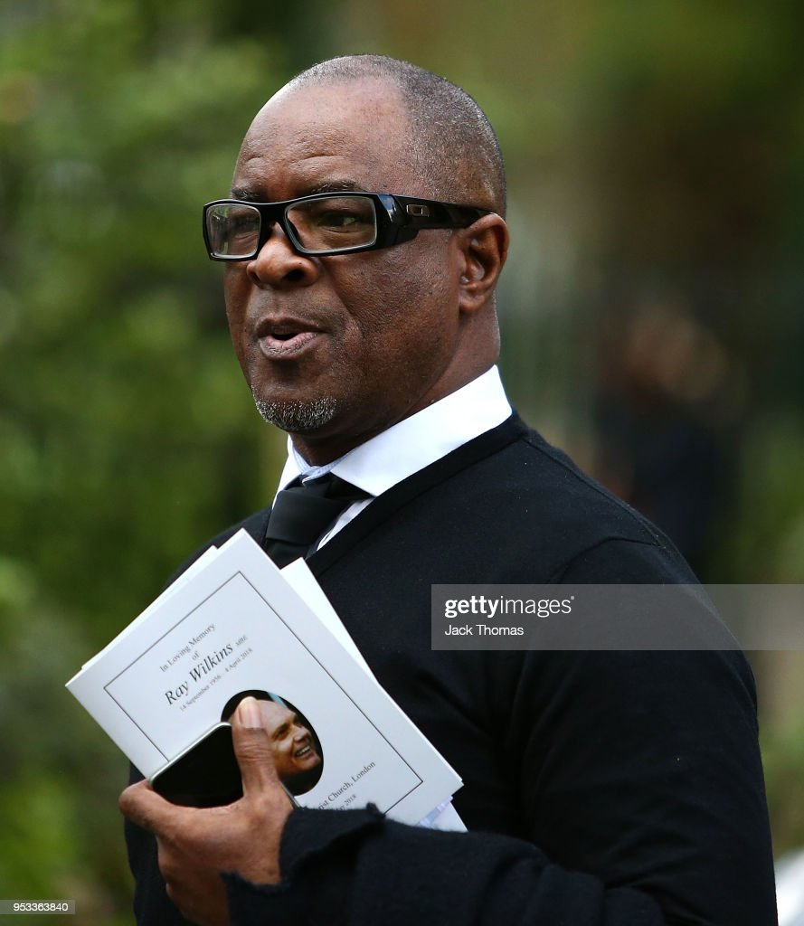 Paul Canoville leaves St Luke's & Christ Church after the memorial held for Ray Wilkins on May 1, 2018 in London, England.
