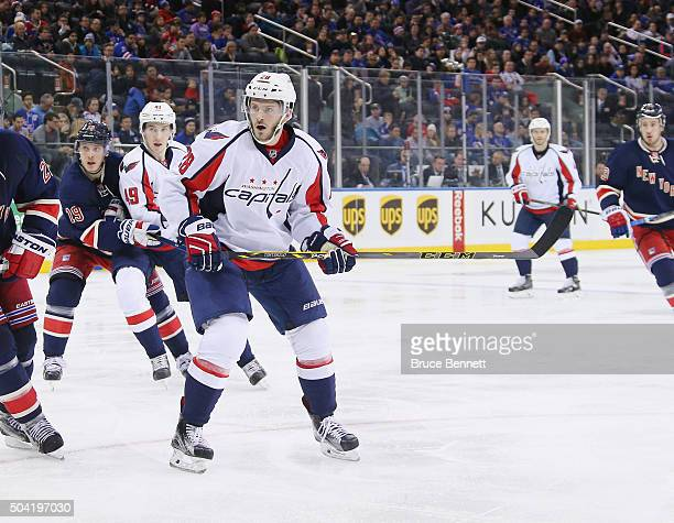 Paul Carey of the Washington Capitals skates against the New York Rangers at Madison Square Garden on January 9 2016 in New York City The Capitals...