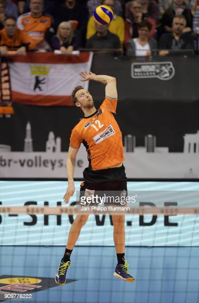 Paul Carroll of the Berlin Recycling Volleys during the game between the Berlin Recycling Volleys and the VfB Friedrichshafen on january 24 2018 in...