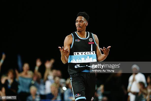 Paul Carter of the Breakers celebrates a three pointer during the round 15 NBL match between the New Zealand Breakers and the Sydney Kings at Vector...