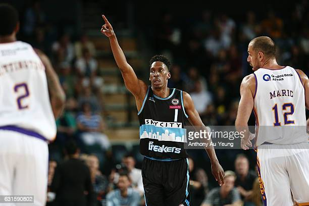 Paul Carter of the Breakers celebrates during the round 15 NBL match between the New Zealand Breakers and the Sydney Kings at Vector Arena on January...