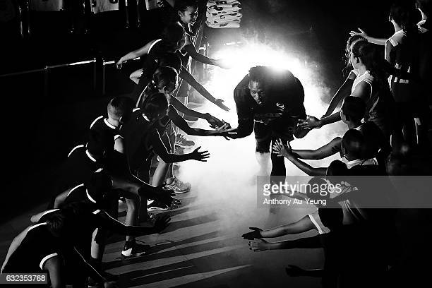 Paul Carter of the Breakers runs out during the players introduction during the round 16 NBL match between the New Zealand Breakers and the Perth...
