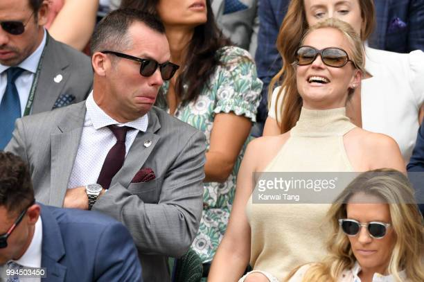 Paul Casey and Pollyanna Woodward attend day seven of the Wimbledon Tennis Championships at the All England Lawn Tennis and Croquet Club on July 9...