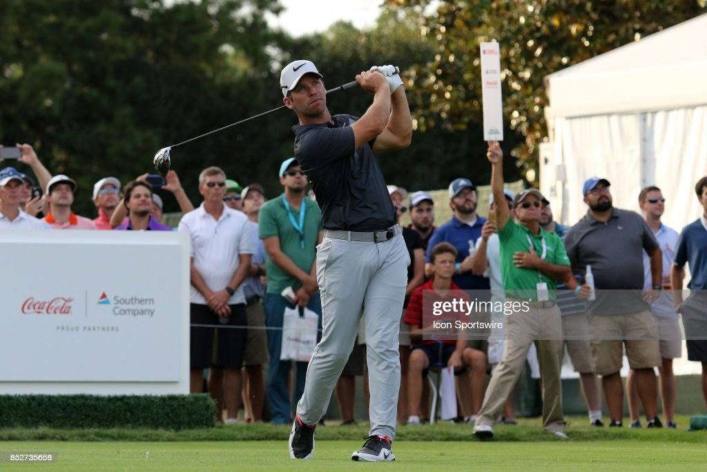 Paul Casey hits his drive off the 18th tee during the third round of the PGA Tour Championship on September 23, 2017 at East Lake Golf Club in Atlanta, Georgia.