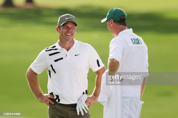 Paul Casey of England and caddie John McLaren talk during the first round of the Masters at Augusta National Golf Club on November 12, 2020 in...