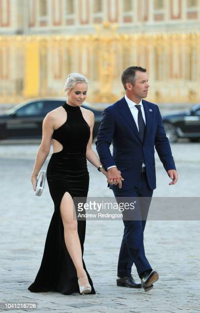 Paul Casey of England and his wife Pollyanna Casey arrive at the Ryder Cup gala dinner at the Palace of Versailles ahead of the 2018 Ryder Cup on...