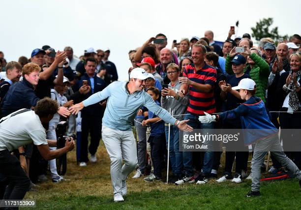 Paul Casey of England celebrates following Day 4 of the Porsche European Open at Green Eagle Golf Course on September 08, 2019 in Hamburg, Germany.