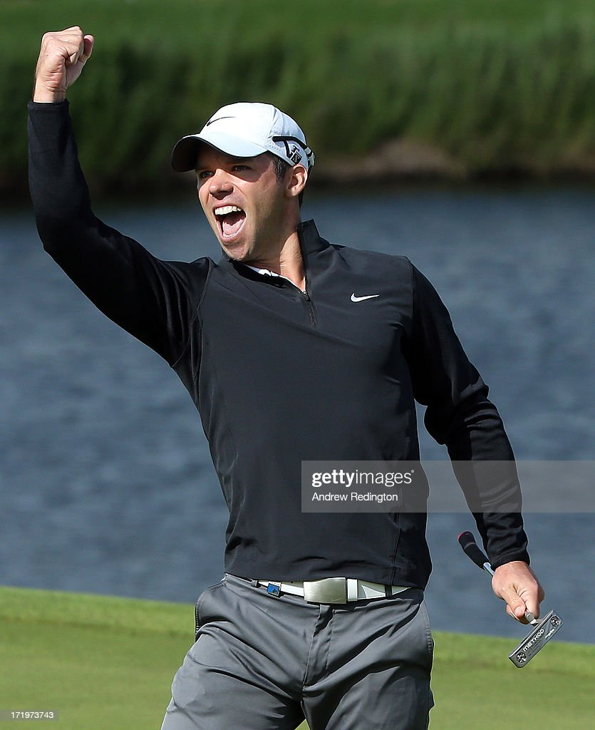Paul Casey of England celebrates his eagle putt on the 18th green during the final round of the Irish Open at Carton House Golf Club on June 30, 2013 in Maynooth, Ireland.