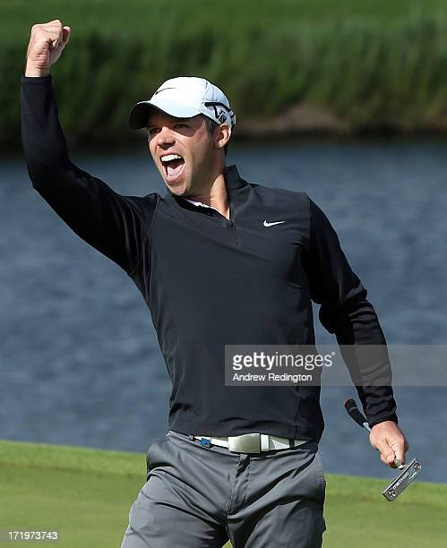 Paul Casey of England celebrates his eagle putt on the 18th green during the final round of the Irish Open at Carton House Golf Club on June 30 2013...