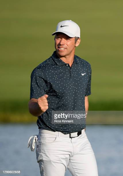 Paul Casey of England celebrates on the 18th green after the final round of the Omega Dubai Desert Classic at Emirates Golf Club on January 31, 2021...
