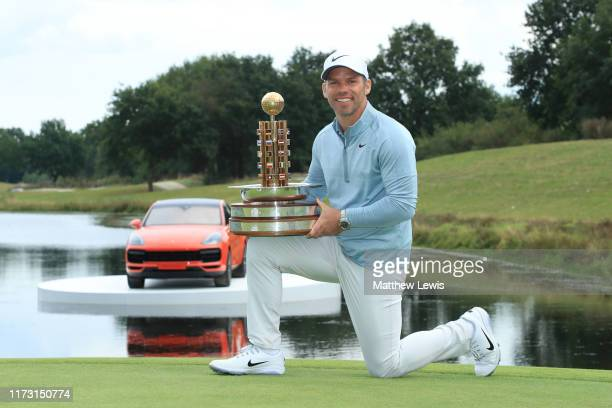Paul Casey of England celebrates with the trophy following Day 4 of the Porsche European Open at Green Eagle Golf Course on September 08 2019 in...