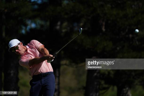 Paul Casey of England hits a tee shot on the 2nd hole during the final round of the Sentry Tournament of Champions at the Plantation Course at...