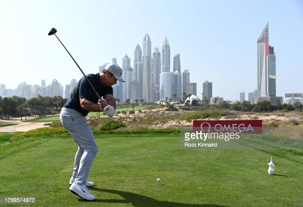 Paul Casey of England hits his tee shot on the 8th hole during the final round of the Omega Dubai Desert Classic at Emirates Golf Club on January 31,...