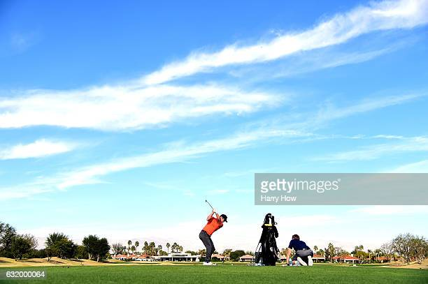Paul Casey of England hits on the driving range during practice for the CareerBuilder Challenge at PGA West on January 18 2017 in La Quinta California
