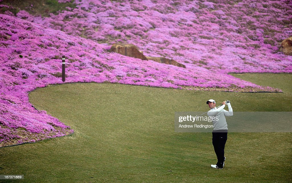 Paul Casey of England in action during the first round of the Ballantine's Championship at Blackstone Golf Club on April 25, 2013 in Icheon, South Korea.