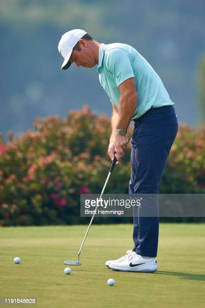 Paul Casey of England is pictured on the practice putting green during a practice round ahead of the 2019 Australian Golf Open at The Australian Golf...
