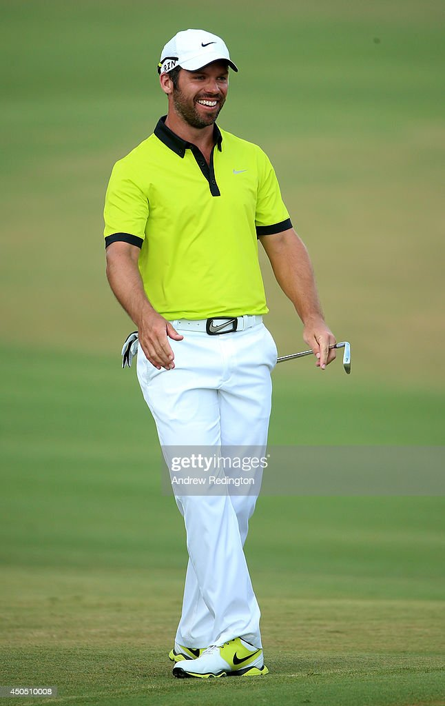 Paul Casey of England laughs on the fifth geen during the first round of the 114th U.S. Open at Pinehurst Resort & Country Club, Course No. 2 on June 12, 2014 in Pinehurst, North Carolina.