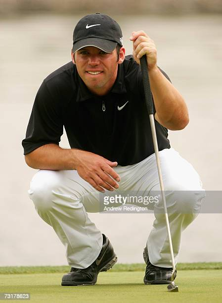 Paul Casey of England lines up a putt on the ninth green during the second round of the Dubai Desert Classic on the Majilis Course at Emirates Golf...