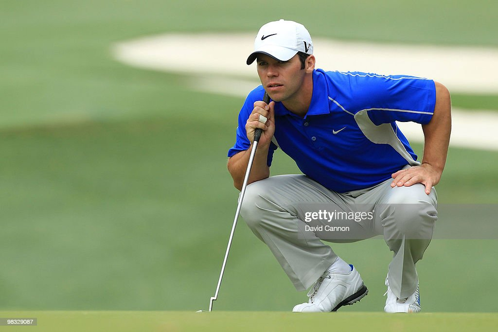 Paul Casey of England lines up a putt on the tenth hole during the first round of the 2010 Masters Tournament at Augusta National Golf Club on April 8, 2010 in Augusta, Georgia.