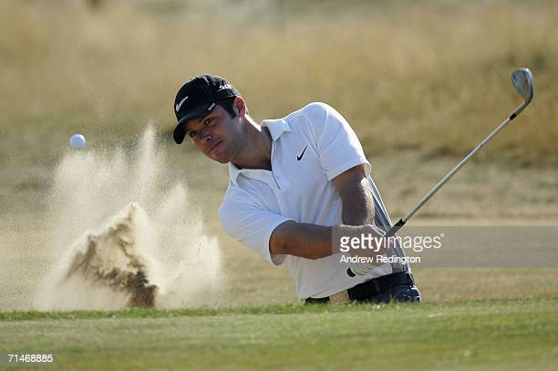 Paul Casey of England plays a bunker shot on the fifth hole during practice for The Open Championship at Royal Liverpool Golf Club on July 18 2006 in...