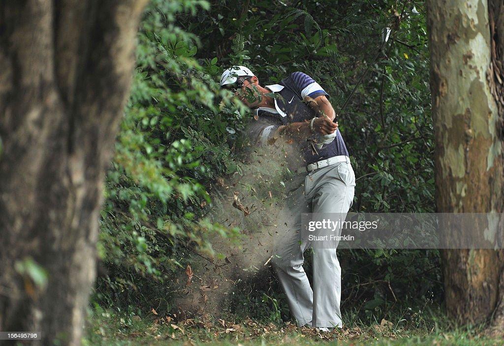 Paul Casey of England plays a shot during the second round of the UBS Hong Kong open at The Hong Kong Golf Club on November 16, 2012 in Hong Kong, Hong Kong.