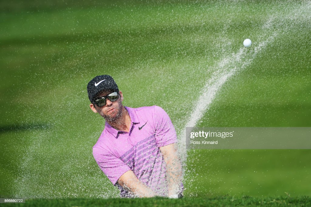 Paul Casey of England plays a shot from a bunker on the second hole during the second round of the WGC - HSBC Champions at Sheshan International Golf Club on October 27, 2017 in Shanghai, China.