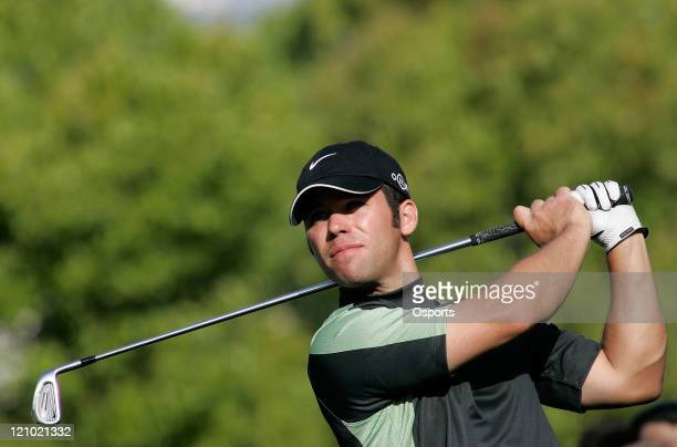 Paul Casey of England plays a shot on the 16th hole during the first round of the 2007 BMW Asian Open at the Tomson Shanghai Pudong Golf Club in...