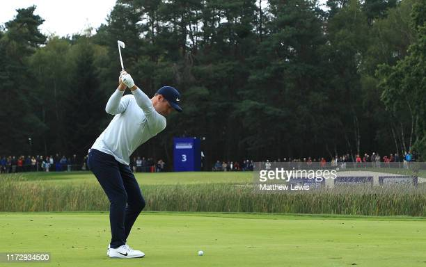 Paul Casey of England plays his second shot from the 3rd fairway during Day Three of the Porsche European Open at Green Eagle Golf Course on...