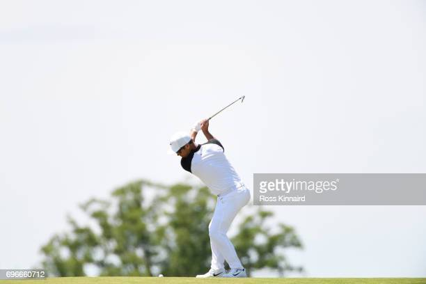 Paul Casey of England plays his second shot on the eighth hole during the second round of the 2017 U.S. Open at Erin Hills on June 16, 2017 in...