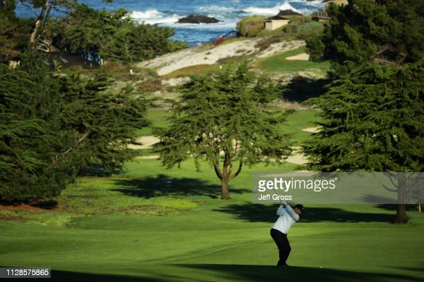 Paul Casey of England plays his second shot on the first hole during the third round of the ATT Pebble Beach ProAm at Spyglass Hill Golf Course on...
