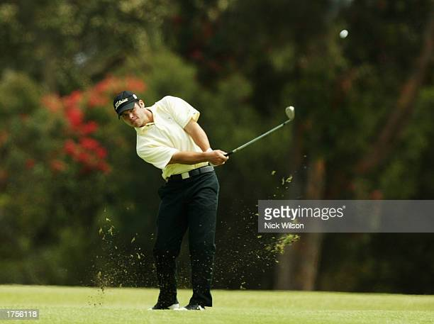 Paul Casey of England plays his second shot on the first hole during the second round of the Heineken Classic at Royal Melbourne Golf Club in...
