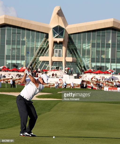 Paul Casey of England plays his second shot on the par four 9th hole during the first round the Abu Dhabi Golf Championship at the Abu Dhabi Golf...