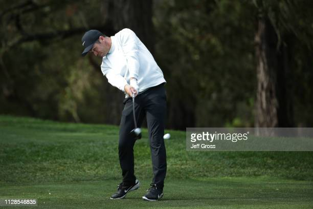 Paul Casey of England plays his shot from the 13th tee during the third round of the AT&T Pebble Beach Pro-Am at Spyglass Hill Golf Course on...