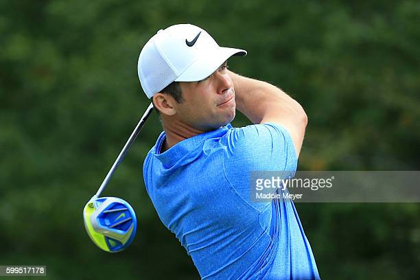 Paul Casey of England plays his shot from the 14th tee during the final round of the Deutsche Bank Championship at TPC Boston on September 5, 2016 in...