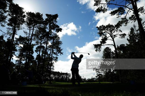 Paul Casey of England plays his shot from the 17th tee during the third round of the ATT Pebble Beach ProAm at Spyglass Hill Golf Course on February...