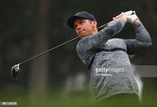 Paul Casey of England plays his shot from the 18th tee during the third round of the Travelers Championship at TPC River Highlands on June 23 2018 in...