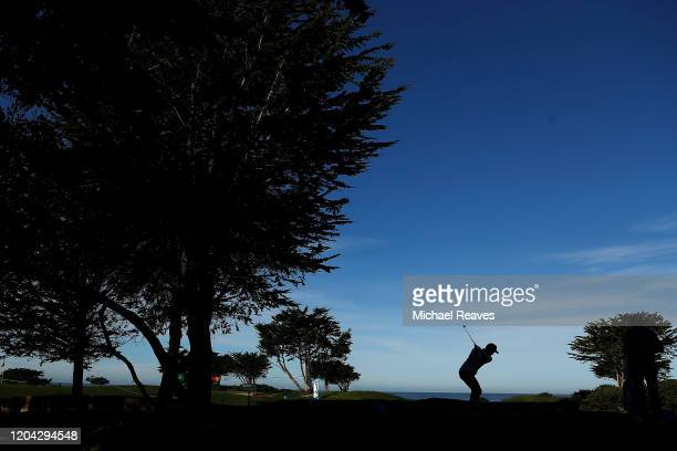 Paul Casey of England plays his shot from the fifth tee during a practice round prior to the ATT Pebble Beach ProAm at Monterey Peninsula Country...