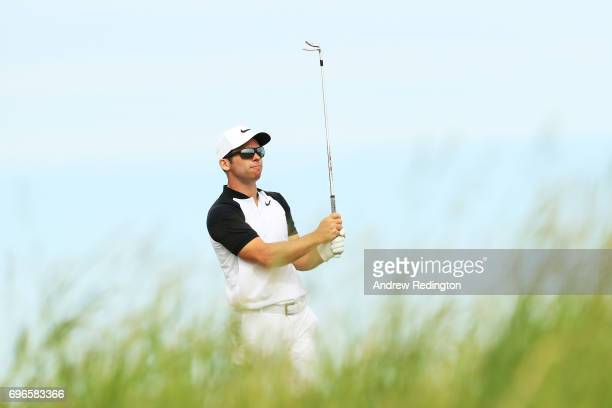 Paul Casey of England plays his shot from the fifth tee during the second round of the 2017 US Open at Erin Hills on June 16 2017 in Hartford...