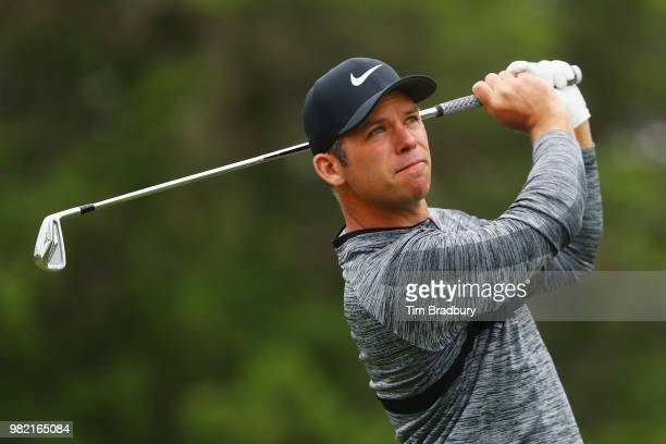 Paul Casey of England plays his shot from the fifth tee during the third round of the Travelers Championship at TPC River Highlands on June 23 2018...
