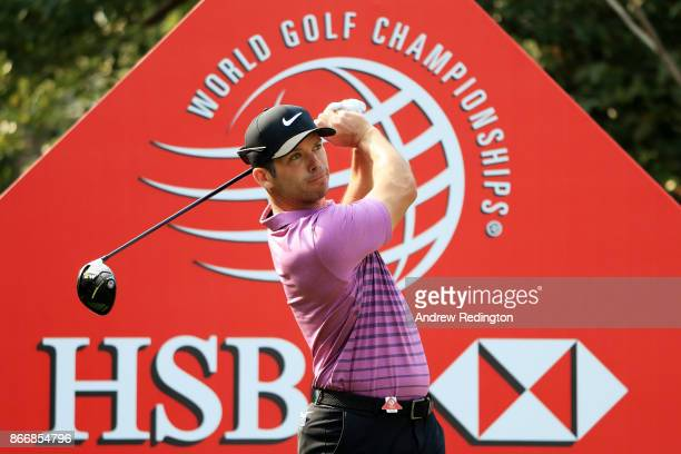 Paul Casey of England plays his shot from the first tee during the second round of the WGC HSBC Champions at Sheshan International Golf Club on...