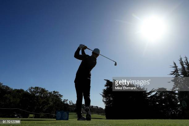 Paul Casey of England plays his shot from the fourth tee during the Final Round of the ATT Pebble Beach ProAm at Pebble Beach Golf Links on February...